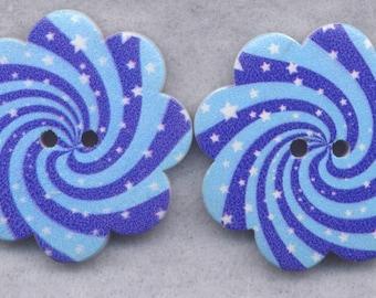 Blue Swirl Wood Buttons Wooden Buttons 36mm (1 1/2 inch) Set of 2/BT310