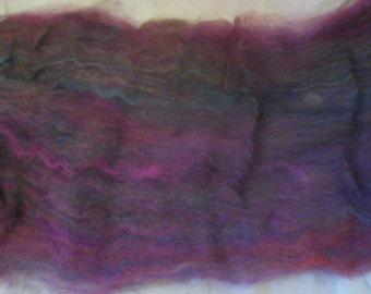 Alpaca Wool Batt Spinning Fiber Purple Maroon Rose 1.7 ounces B014