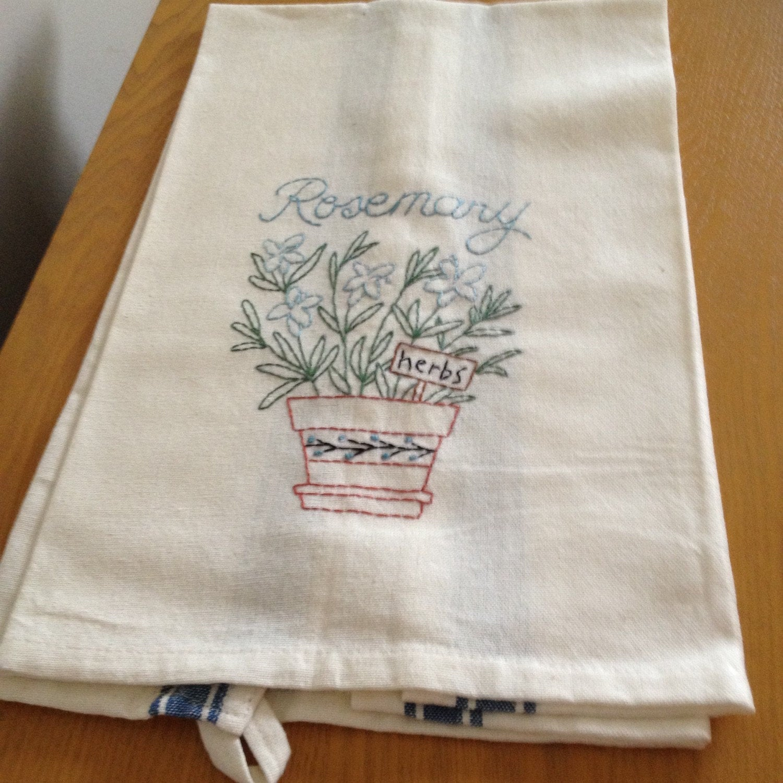 Hand Embroidered Flour Sack Tea Towel By PinkrosesSupplyShop