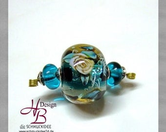 3 Turquoise Rose Garden, Bead set, lampwork, Beads, Flowers, SRA
