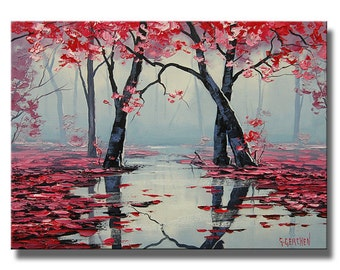 PINK WALL ART Decor Tree Oil Painting landscape River painting by Graham gercken