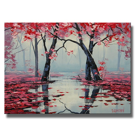 PINK WALL ART Decor Tree Oil Painting landscape River painting
