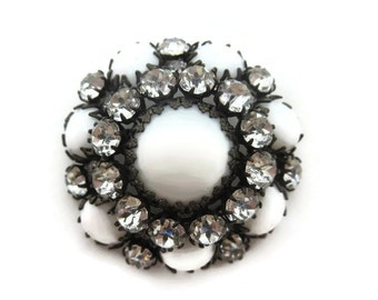 Milk Glass Rhinestone Brooch - 1950s 60s, Vintage Costume Jewelry