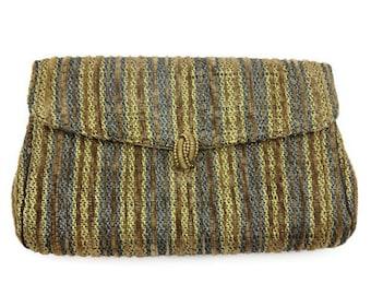 Henri Betrix Handbag - Chenille Tapestry Clutch, Brown, Gold , Blue Silver