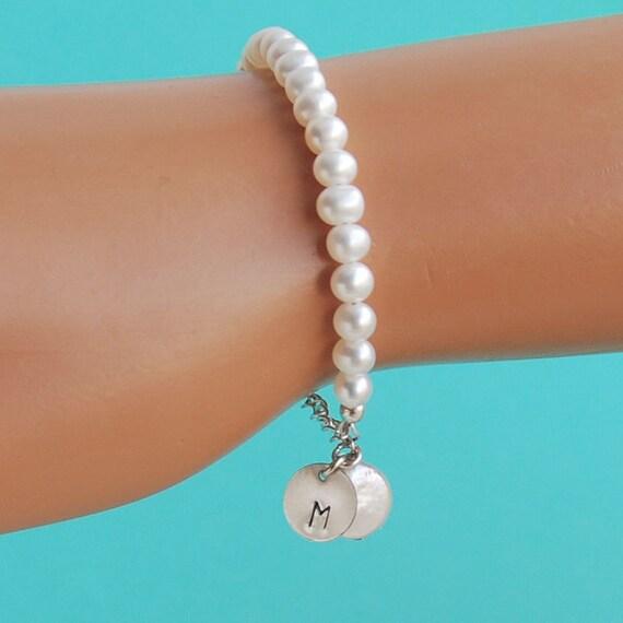 initial charm flower bracelet pearl bracelet