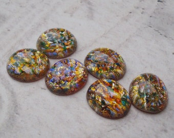 Preciosa 12x10mm Czech Fire Opal Harlequin Unfoiled Flat Back Oval Glass Cabs (6 pieces)