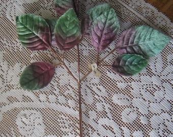Vintage Millinery Leaves 1950s Japan Purple & Green Ombre Velvet Rose Leaves  VL C5