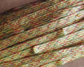 2 Yards Narrow 3/16 Inch Vintage Metallic Trim In Gold With Red And Green Old Store Stock  C-7