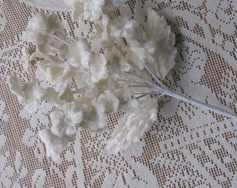 Italy Ivory Velvet Bouquet Velvet Fabric Millinery Flowers Forget me Nots Bouquet