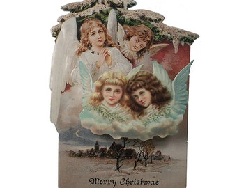 Vintage Christmas Card Made In USA 1990s Angels  CD 009