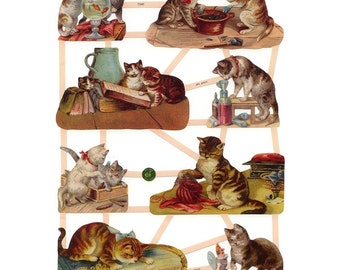 Germany Paper Scraps Lithographed Die Cut Victorian Cats Kittens  7340