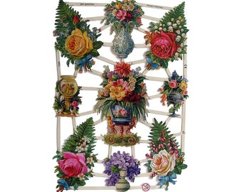 Made In Germany Die Cut Paper Scraps With Victorian Ferns Roses Flowers  7266