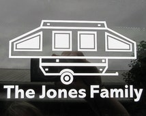 Personalized pop up trailer vinyl car window decal - pop up camper - travel trailer - camp - camping gear - caravan - personalized decal