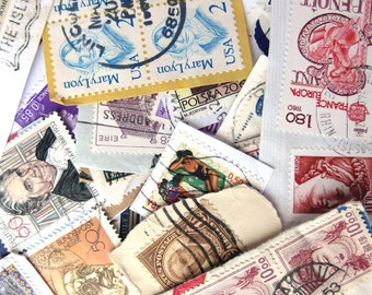 100 plus vintage World postage stamp envelope bits for your art projects