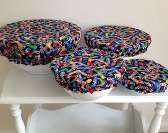 Reusable Food Bowl Basket Container Elastic Picnic Cover Fireworks Firecrackers Fabric (4 Piece)