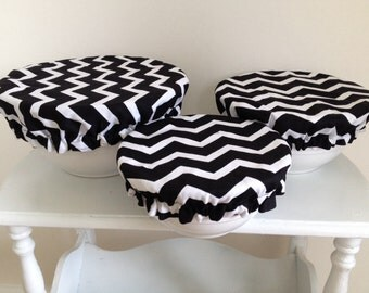 Picnic Food Bowl Reusable Covers Elastic Lids Black White Chevron Fabric (Set of 3)