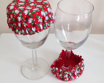 Reusable Elastic Drink Cup Glass Cloth Coaster Cover Green Red Christmas