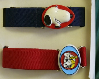 Child''s Belts - Snoopy Buckle - Red - Blue