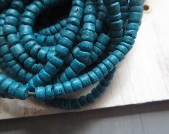 Small coconut beads ,  teal blue - green , rondelles beads discs, spacer , exotic boho coco heishi 1.5 to 3mm  x 5mm / 14 inch strd, 5BB18-1