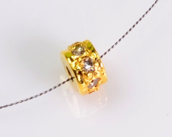 3.6mm 18k Solid Yellow Gold Diamond Eternity Rondelle Finding Bead