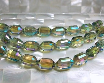 8pcs Chinese Crystal Glass Bead Strand 16mm Faceted Barrel Shape Green Jewelry Jewellery Craft Supplies