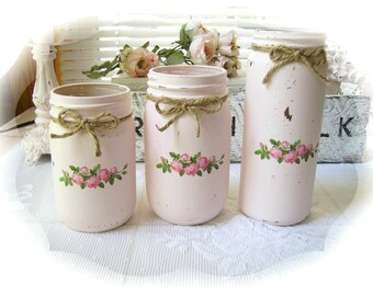 Shabby Cottage Chic Set of 3 Blush Pink Vintage Inspired Repurposed Glass Jar Vases ~ Organizers ~ Home Decor