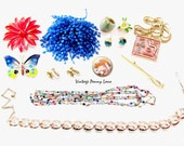 Colorful Vintage Costume Jewelry / Jewellery,  Destash Lot