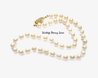 Vintage Ivory Faux Pearl Bead Necklace