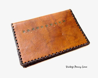 Vintage Tooled Leather Wallet, Boho / Brown