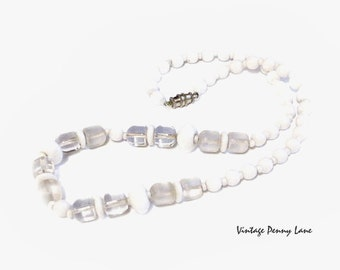 Vintage Glass Bead Necklace, White / Frosty