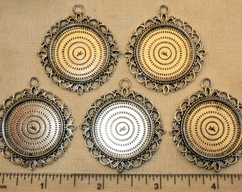 """5 Antique Silver Filigree Round Blank Bezel Setting 1-5/8"""" Pendant Trays for Resin or Cabochons"""