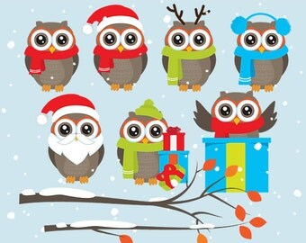 Christmas owl clip art - Christmas owls clip art branch holiday branches winter Santa reindeer owl hat Xmas festive cute whimsical presents