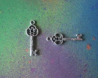 15 Keys Skeleton Key Ornate Charm Pendants Charms For Jewelry Making
