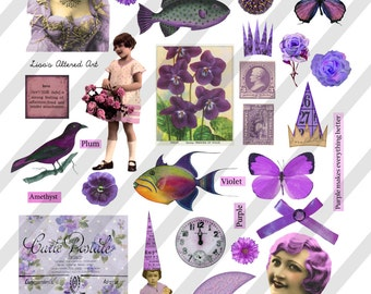 Digital Collage Sheet, Pretty in Purple Images (Sheet no. O239) Instant Download, PNG Included