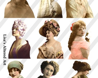 PNG Ladies, Digital Collage Sheet,Vintage Ladies No. 9, Vintage Women, (Sheet no. L9) Instant Download