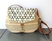 satchel • crossbody - geometric print • hand printed black and cream canvas - summer stripe cotton  • cross body - printed • hex