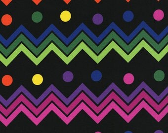 Rainbow Chevron Dots Black RJR Fabric 1 yard