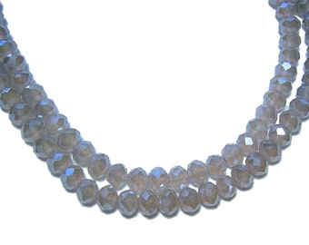 4x6mm Chinese faceted glass crystal beads in Opal Taupe color 30pcs
