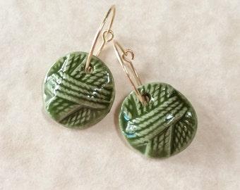 Ball of Yarn Porcelain Earrings in Green-Handcrafted Porcelain Earrings-Green Porcelain Earrings-Handmade Ceramic Earrings-Gift for Knitter