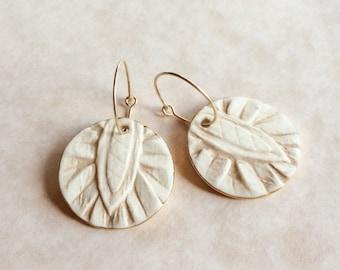 Ivory Porcelain Earrings, Ivory and Beige Earrings, Gold Filled Hoops, Mostly Unglazed Porcelain, Boho Wedding, Ceramic Earrings, Handmade