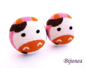 Cow earrings - Cow farm earrings - Pink Cow stud earrings - Cow milk post earrings - Cow posts sf1237