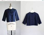 30% OFF SALE 1950s midnight blue SILK cropped jacket / xs - s