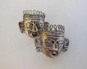 50s earrings / Tribal Mask Vintage 1950's Sterling Mexican Earrings