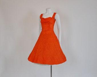 50s dress / Oh Chute Vintage 1950's Full Parachute Skirt Dress
