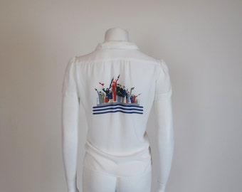 80s top / Anchors Away 1980's Sailor Vintage Novelty Print Shirt