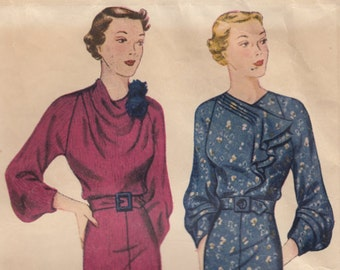 """1930s 34"""" Bust - Simplicity 2003 Dress With Jabot or Cowl Neckline Options - Unused"""