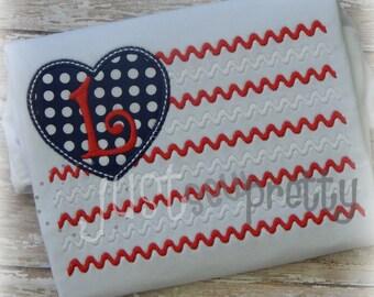 Heart Flag Embroidery Applique Design