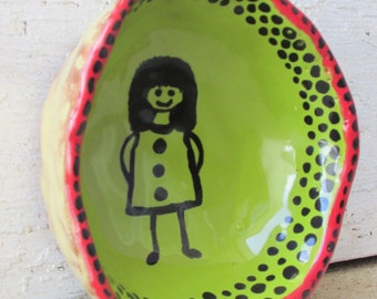 Hand built  whimsical clay bowl small size