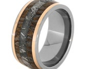 Dinosaur Bone Ring with Gibeon Meteorite and 14k Rose Gold Inlays, Titanium Wedding Band for Women or Men