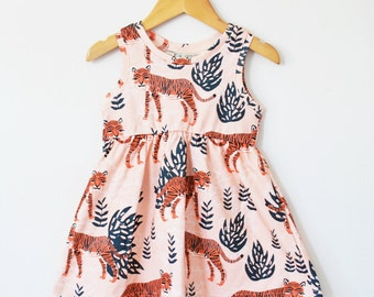 baby dress // toddler dress // Safari tiger twirl dress // girls clothing // girls dress // kids clothes / organic baby dress / baby clothes
